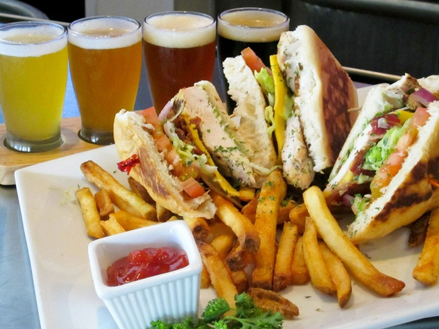 The Barrel and Brew club sandwich french fries and Saint Arnolds beer