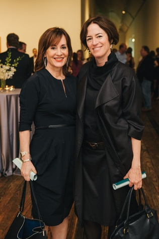 Clare Casademont, left, and Sharon Johnston at the Charles James exhibit preview party at the Menil June 2014