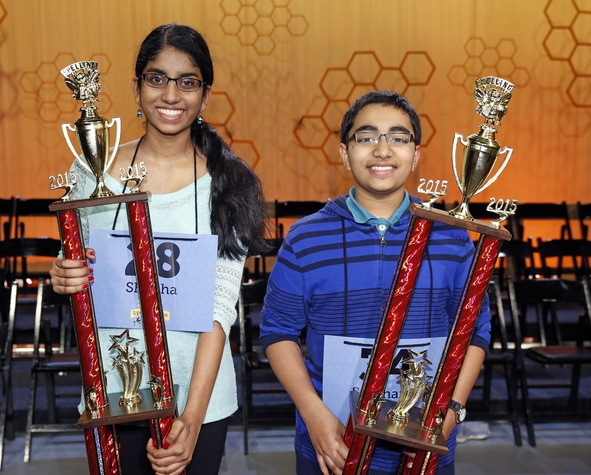 Houston Public Media Spelling Bee winnersShobha Dasari from McCullough Jr. High and Siddarth Krishnakumar from Pearland Jr. High