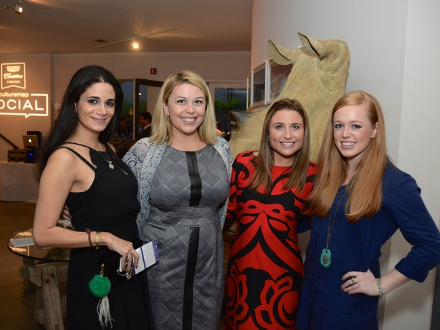 38 Mira Haykal, from left, Dede King, Megan Lesser and Darby McDaniel at the CultureMap Social at Gremillion and Co. Fine Art March 2015