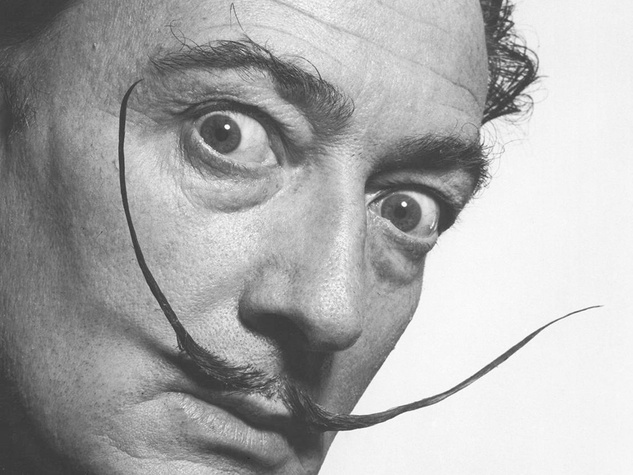 Salvador Dali head shot with mustache