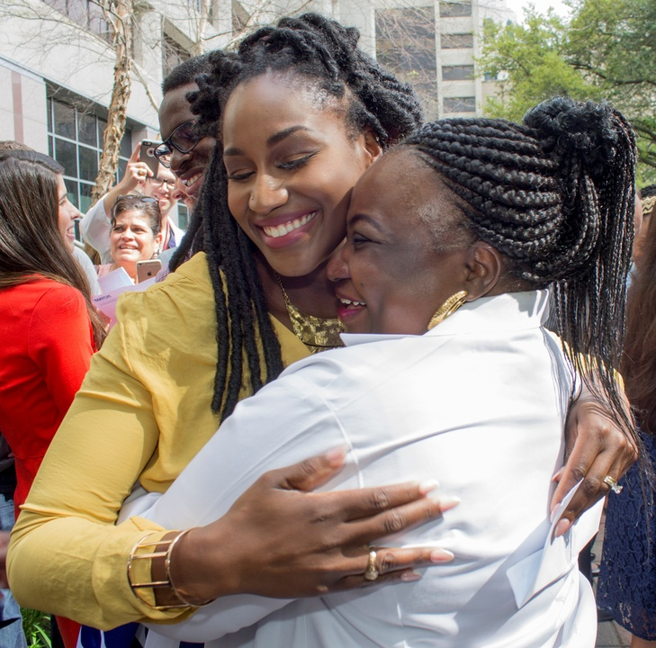 Bukola Adeyinka celebrates with her mom at Match Day UT Medical School