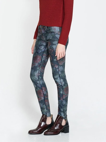 zara FLORAL FITTED TROUSERS