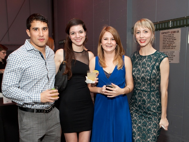7 Joseph Munguia, from left, Ana Lucia Teran, Katie Patterson and Meredith Allison at the Menil Young Professionals party December 2013