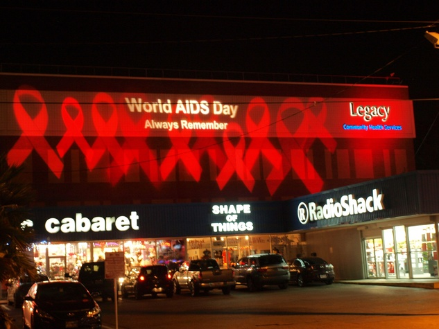 Worlds AIDS Day logo on side of building November 2013