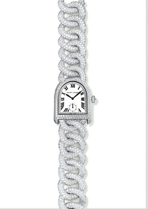 Ralph Lauren diamond link stirrup watch