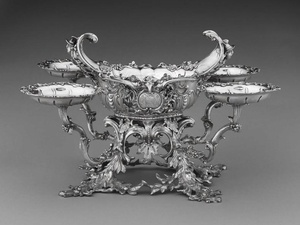 William Cripps, Epergne, 1754, silver. The Rienzi Collection, museum purchase with funds provided by the Rienzi Society
