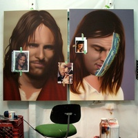Artist of the Year 2013, Rachel Hecker, Jesus paintings in progress