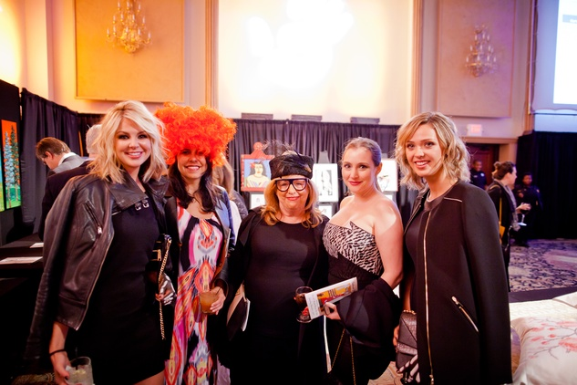 16 Paige Simpson, from left, Laurie McRay, Barbara Davis, Sunday Riley and Sierra Slaughter at the Orange Show Gala November 2014