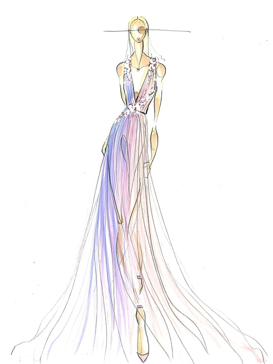 Fashion Week spring 2015 sketch Sept. 2014 Pamella Roland