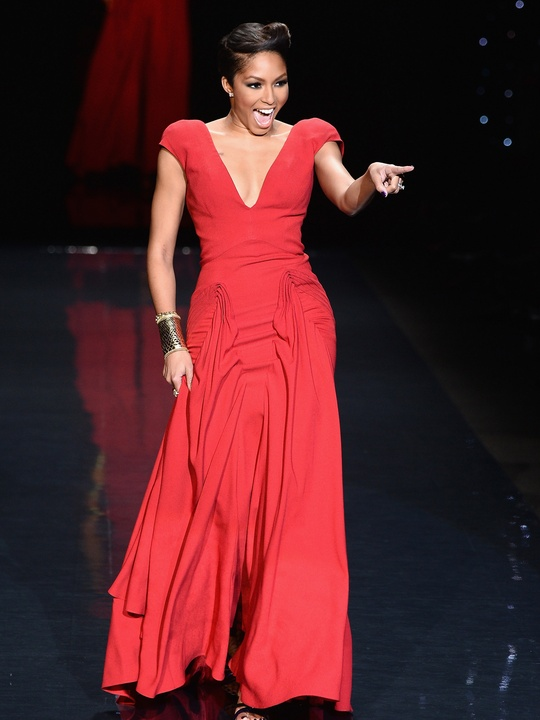 Alicia Quarles, wearing Zac Posen, walks the runway at Go Red For Women - The Heart Truth Red Dress Collection 2014 Show February 2014