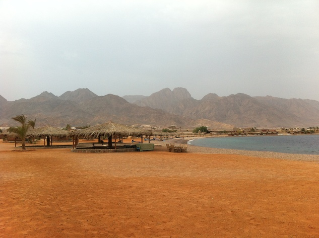 Sea and mountain panorama as seen from Castle Beach Sinai Egypt