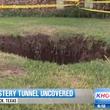 Lubbock man discovers hidden tunnel in back yard September 2013 with police tape