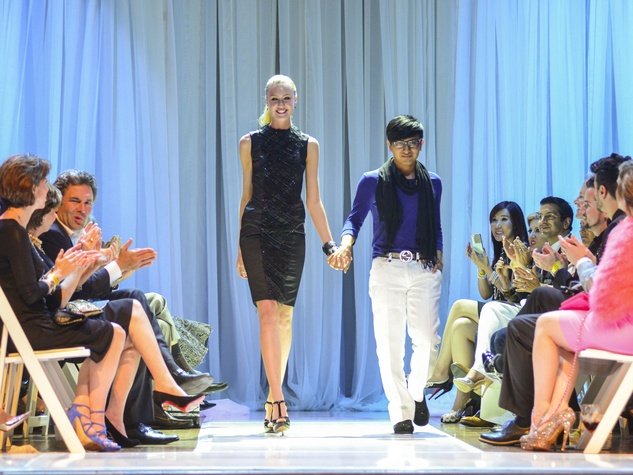 Houston Little Black Dress designer fashion show model on runway with Amir Taghi