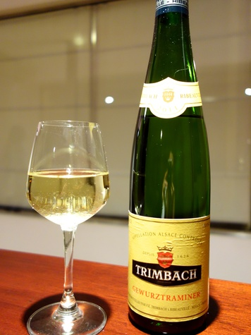 Trimbach Vineyards' Gewurztraminer bottle of wine with glass of wine