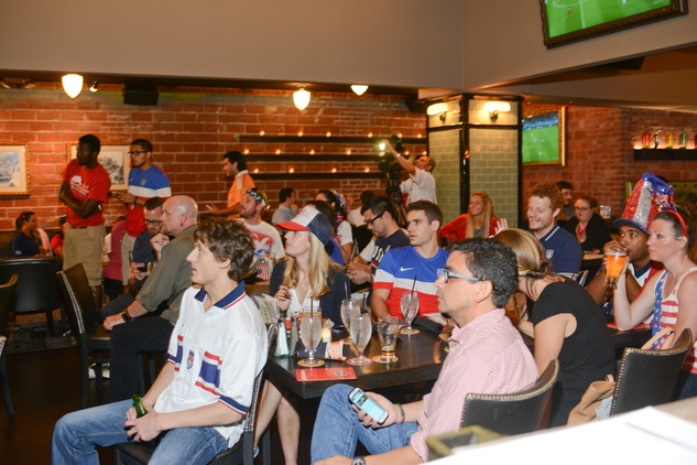 The crowd at the World Cup Watch Party with Dynamo players at Local Pour June 2014