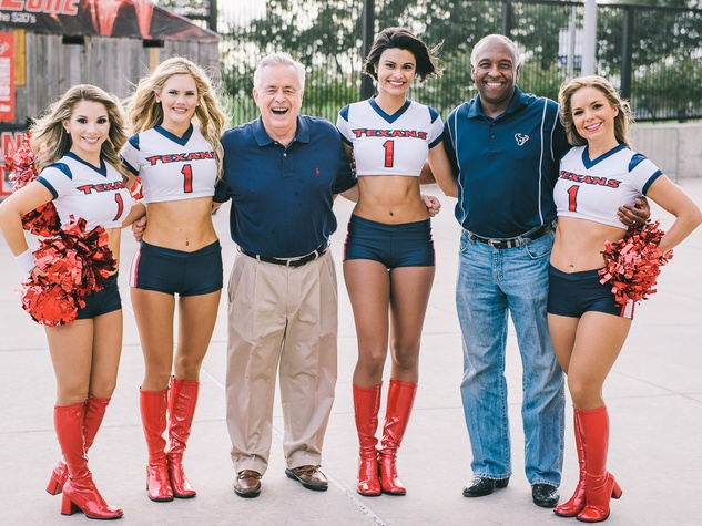 Boys & Girls Harbor Fantasy Football party September 2013 Texan Cheerleaders Don Sweat and Fred Newhouse