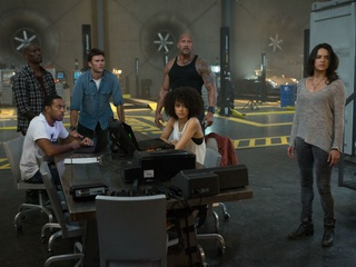 "Tyrese Gibson, Chris ""Ludacris"" Bridges, Scott Eastwood, Dwayne Johnson, Nathalie Emmanuel, and Michelle Rodriguez in The Fate of the Furious"