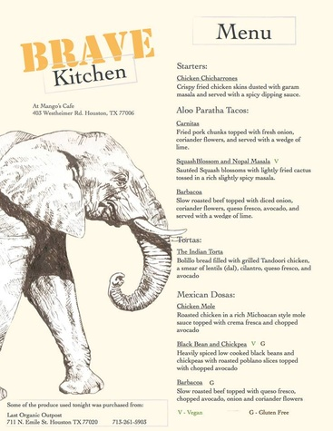 Brave Kitchen Project's First Pop Up Dinner Service MENU