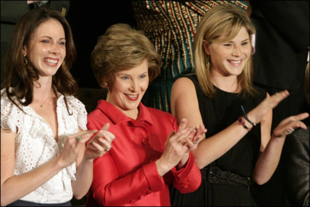 Laura Bush and daughters