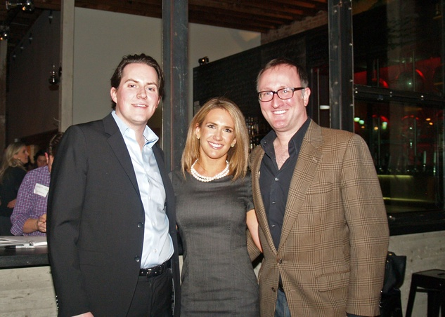 16 Hunter Summerford, from left, Carrie Carson and James Glassman at the Preservation Houston Young Professionals party November 2013