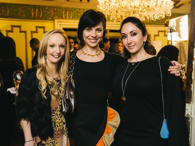 7 Carrie Ann, from left, Elena Sickinger and Gabriella Aliberti at the CultureMap Social at La Colombe d'Or February 2014