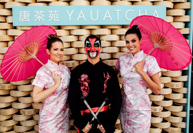 Yauatcha Opening Umbrella Girls at Social Media Booth