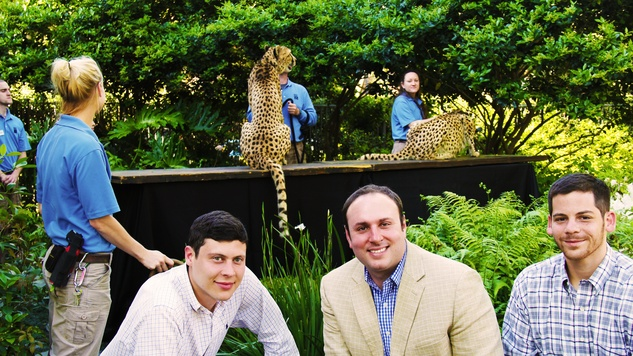 23 Sam Frapart, from left, David Cygialman and Everett Grossman at Cheetah Conservation and The Houston Zoo Event March 2015