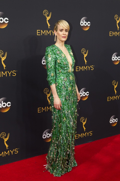 Sarah Paulson at Emmy Awards in Pradagown