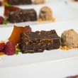 477 Dessert - Chocolate Hazelnut Bar, Cranberry Gelée, Caramel  and Whipped Cream at the Houston Symphony Wolfgang Puck wine dinner March 2015