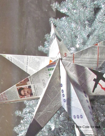 Newsprint star, holiday decorations