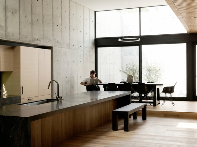 Houzz Houston House Home Japanese Style Concrete Box Kitchen Dining Room