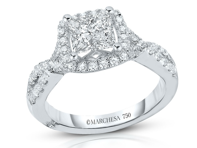 Marchesa Princess Halo twist shank wedding ring