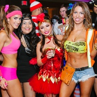 1 Paula Ferriera, from left, Fatima Fernandez, Paula Rodriguez and Brittany Do at the CultureMap Halloween party at Mr. Peeples October 2013