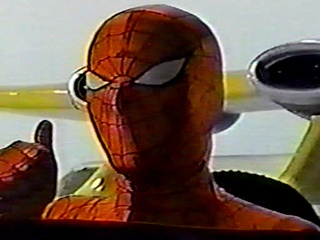 Japanese Spider-Man in flying car giving the thumbs up