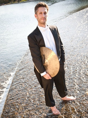 Texas Music Festival season announcement, April 2013, percussion Matt Strauss barefoot