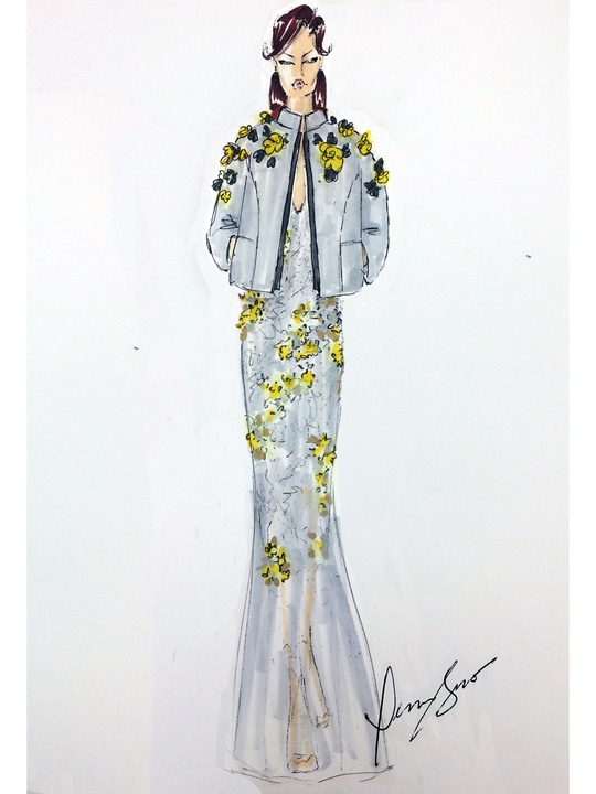 Fashion Week spring 2015 sketch Sept. 2014 Dennis Basso