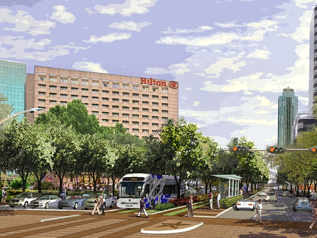 Post Oak Boulevard, future transit, bus, January 2013