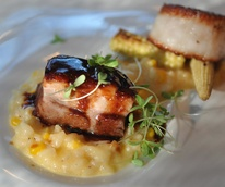 Triniti Restaurant, risotto, scallop, pork belly, corn