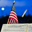 American flag at Houston Symphony Fourth of July performance at Miller Outdoor Theatre 2013