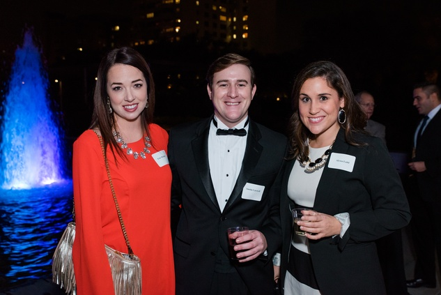 News, Houston Young Lawyers, holiday party, Dec. 2016. Erin Mitchell, Austin Carswell, Alyssa Ladd