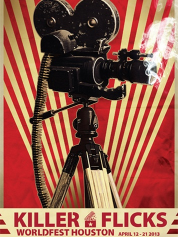 WorldFest Houston promotional poster with smoking movie camera