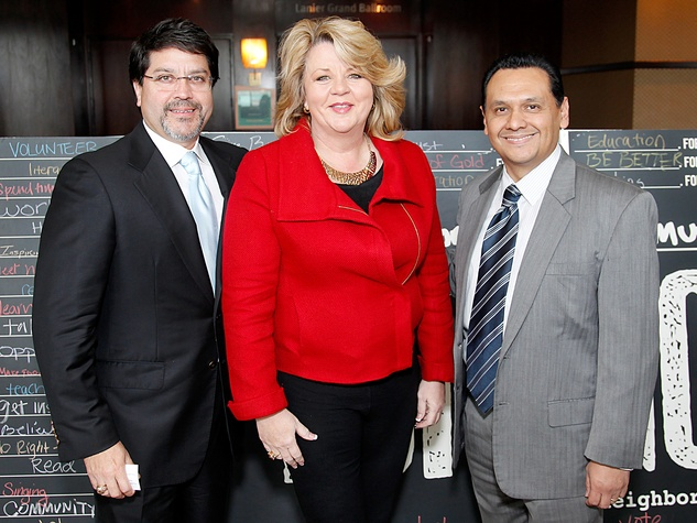 Eric Marin, from left, Brenda Stardig and Ed Gonzalez at the Neighborhood Centers' Heart of Gold Celebration February 2014