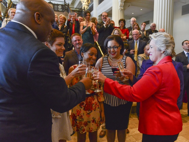 Annise Parker Kathy Hubbard wedding reception toast with family March 2014