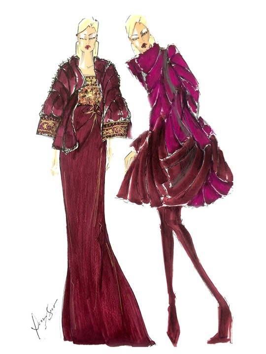 Designers' sketches fall 2014 collections Dennis Basso