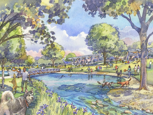 Buffalo Bayou Partnership dog park rendering January 2014