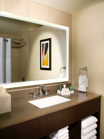 new bathroom rendering at Hilton Austin downtown