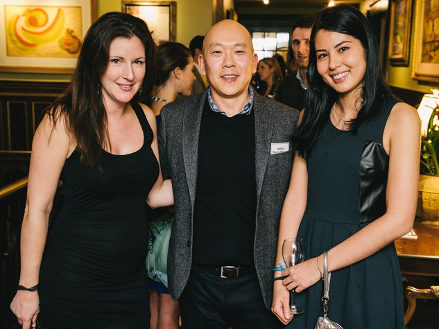 13 Morgan Lynn Razi, from left, Jason Fang and Sofia Medeiros at the CultureMap Social at La Colombe d'Or February 2014
