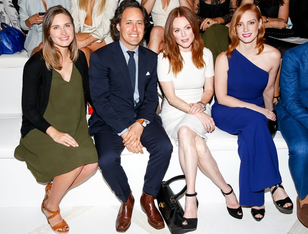 Lauren Bush Lauren, David Lauren, Julianne Moore, Jessica Chastain at RalphLauren spring 2016 runway show
