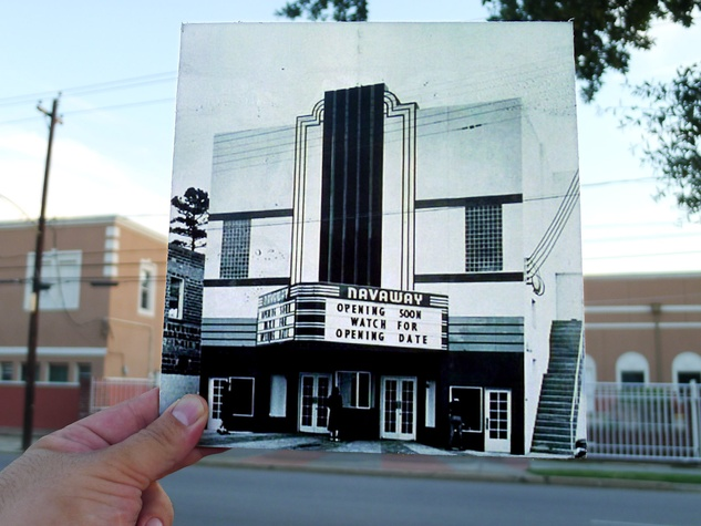 18th Annual Eastwood Historic Home Tour October 2013 person holding photo of Navaway Theater